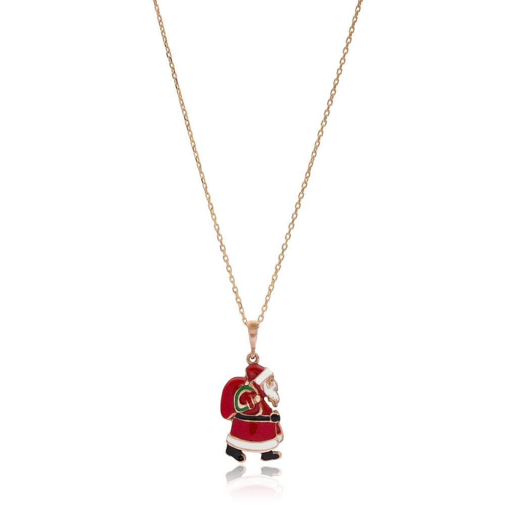 Christmas Enamel Santa Claus Pendant Wholesale 925 Sterling Silver Jewelry