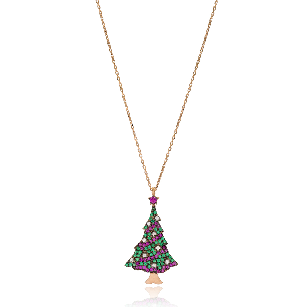 New Year Christmas Tree Pendant Wholesale 925 Sterling Silver Jewelry