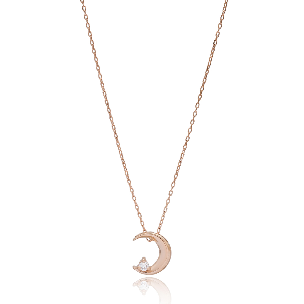 Crescent Moon Design Silver Necklace Wholesale Turkish 925 Silver Sterling Jewelry