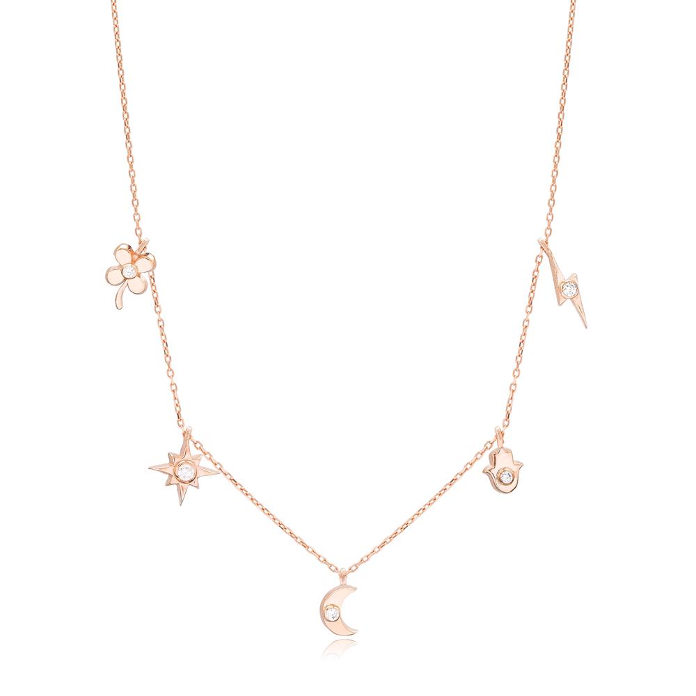 Minimalist Shaker Moon Clover Hamsa Star Pendant Turkish Wholesale 925 Sterling Silver Jewelry