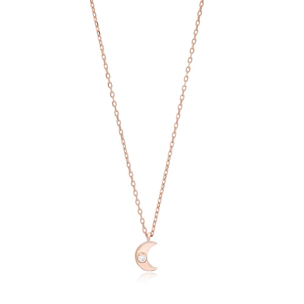 Minimalist Moon Design Pendant Turkish Wholesale 925 Sterling Silver Necklace Jewelry