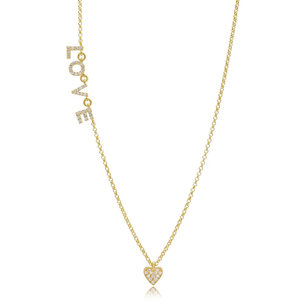Heart Design Love Letter Pendant Turkish Wholesale Handmade 925 Silver Sterling Necklace
