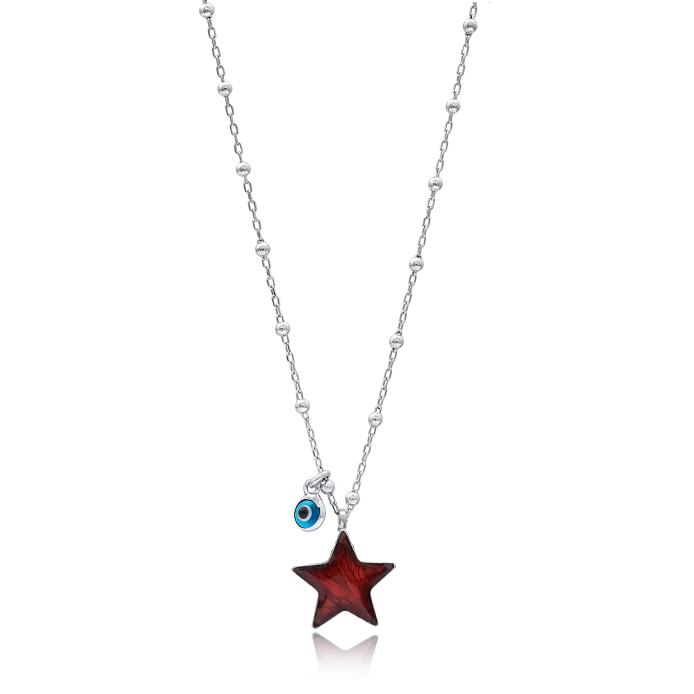 Star Design Red Enamel Mother of Pearl Pendant 925 Sterling Silver Jewelry