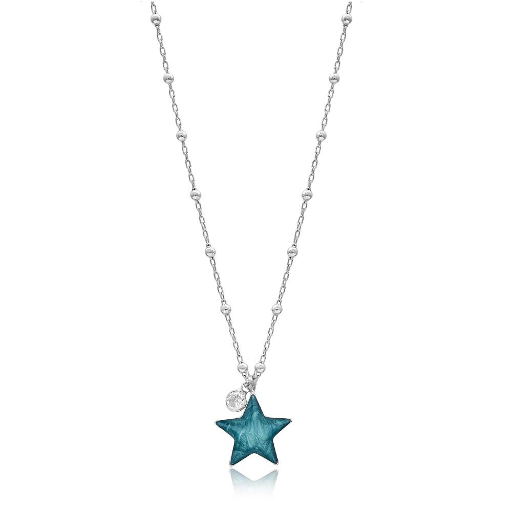 Mother of Pearl Star Design Necklace with Minimal Stone 925 Sterling Silver Jewelry