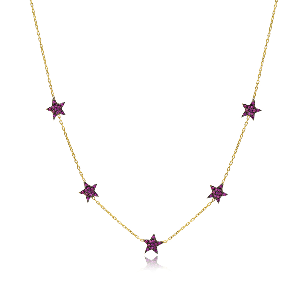 Ruby Star Charm Necklace Wholesale Handmade 925 Silver Sterling Jewelry