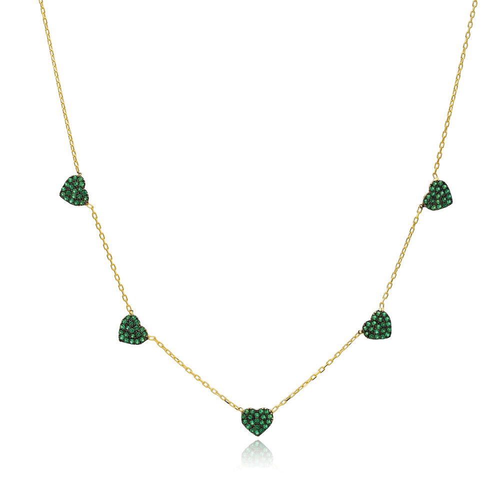 Emerald Stone Heart Charm Necklace Wholesale Handmade 925 Silver Sterling Jewelry