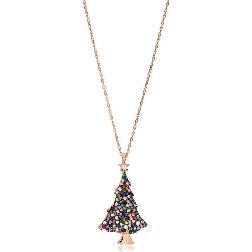 Christmas Tree New Year Necklace Wholesale 925 Sterling Silver Jewelry