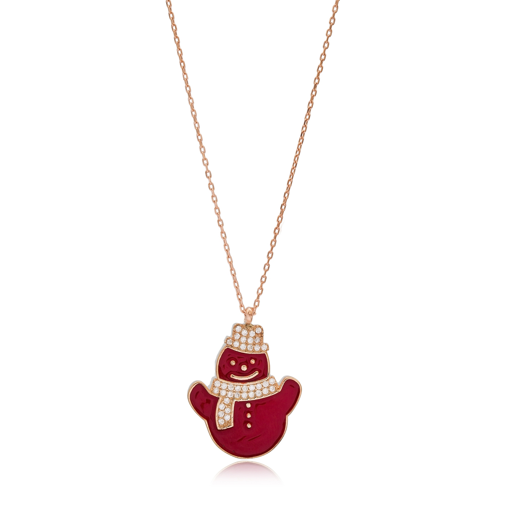 Christmas Red Enamel Snowman Pendant Wholesale 925 Sterling Silver Jewelry