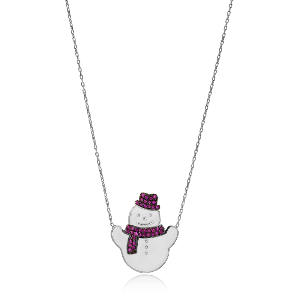 White Enamel Snowman Christmas Pendant Wholesale 925 Sterling Silver Jewelry