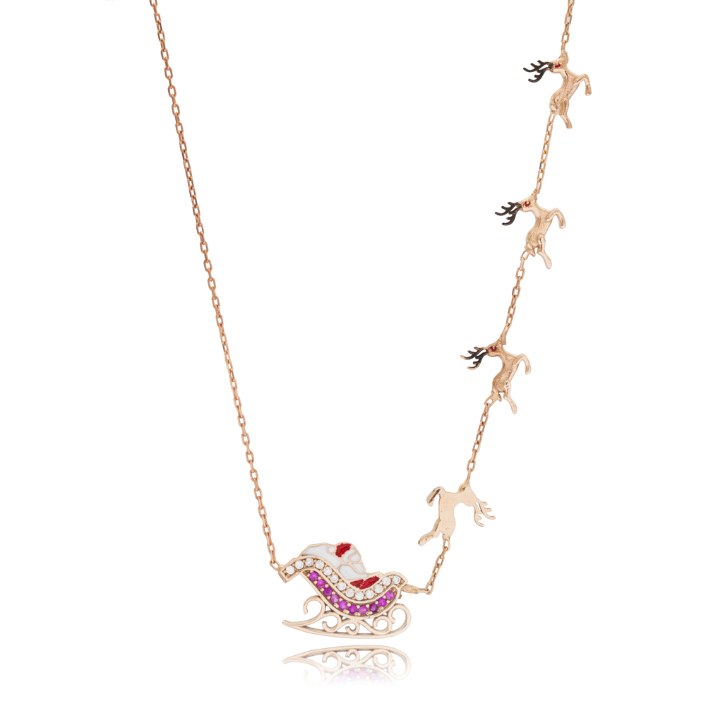 Merry Christmas Reindeer Sleigh Pendant Wholesale 925 Sterling Silver Jewelry