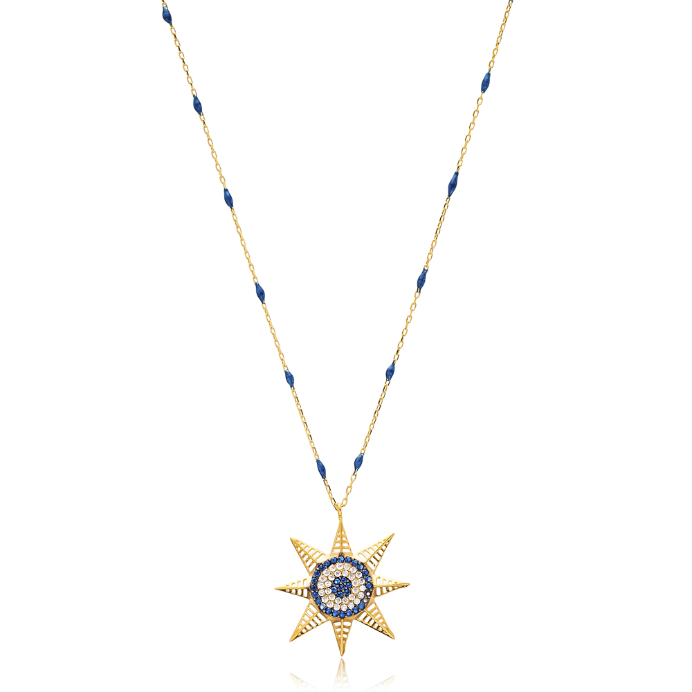 North Star Charm Navy Blue Enamel Chain Necklace Turkish Wholesale 925 Sterling Silver Jewelry