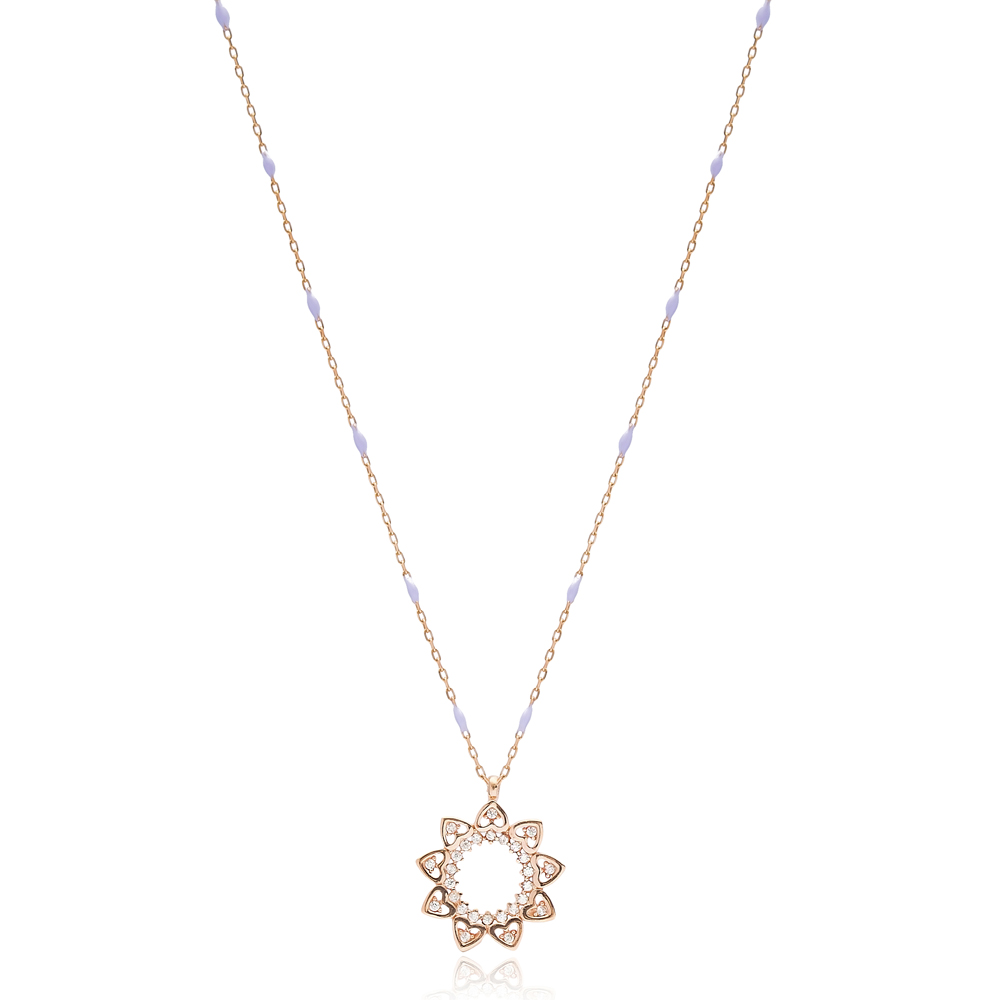 Minimalist Heart Charms Round Shape Purple Enamel Chain Necklace Turkish Wholesale 925 Sterling Silver Jewelry