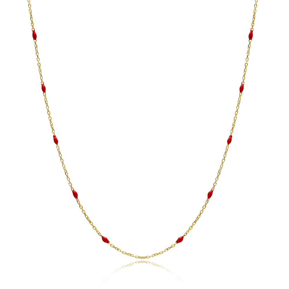 30 Force Red Enamel Chain Turkish Wholesale 925 Sterling Silver Necklace