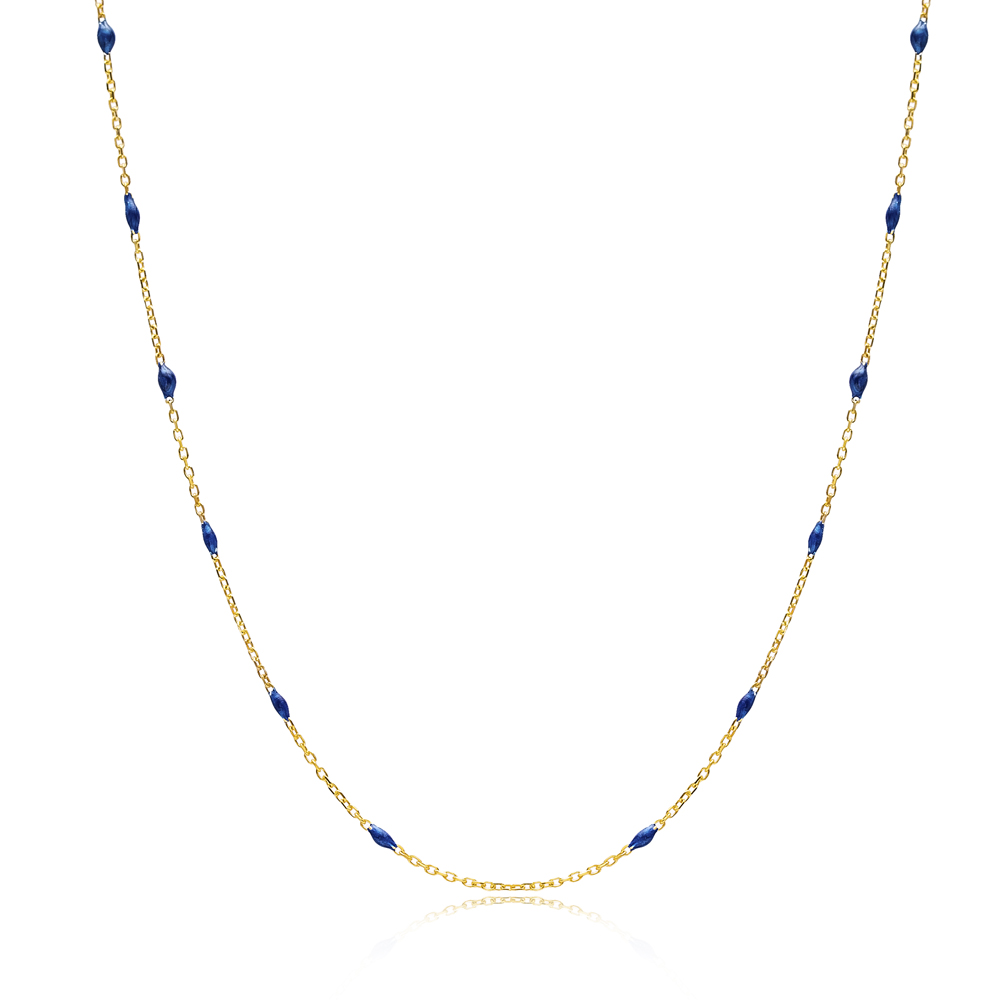 30 Force Navy Blue Enamel Chain Turkish Wholesale 925 Sterling Silver Necklace
