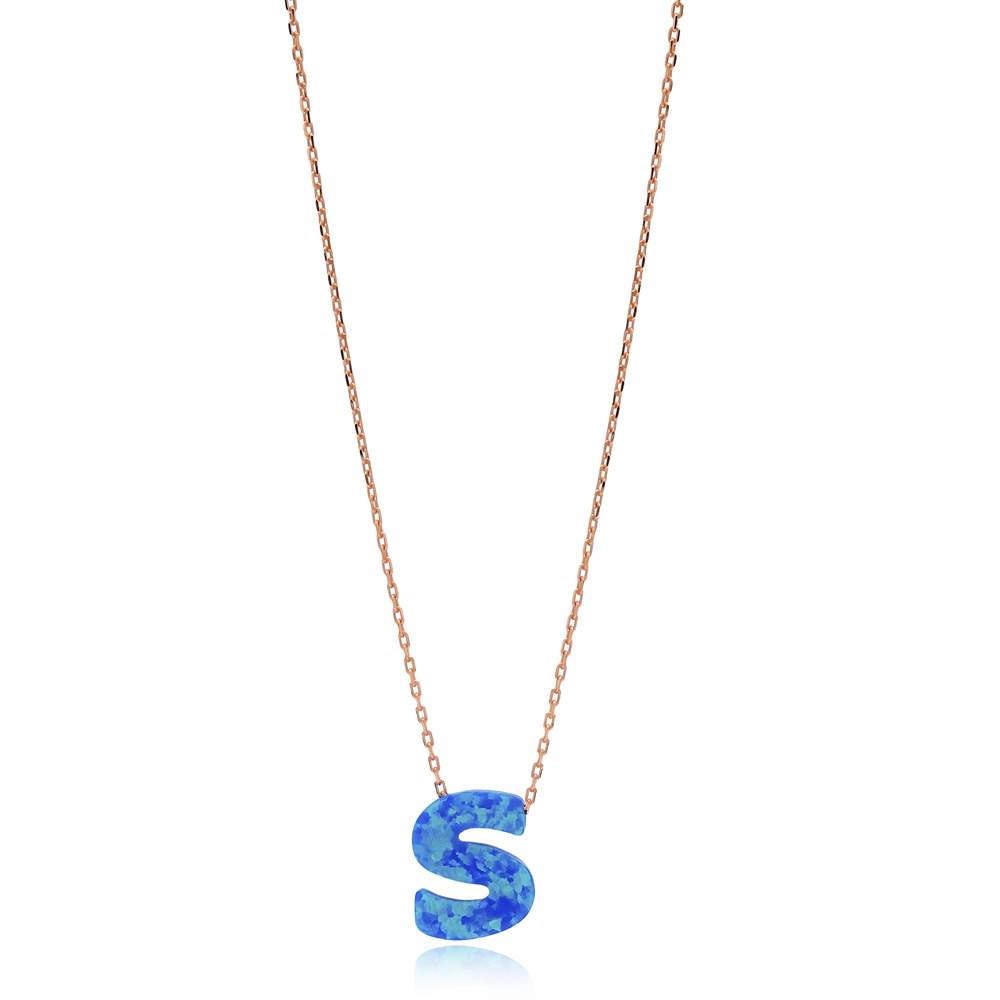 Opal Stone S Letter Design Necklace Turkish Wholesale 925 Sterling Silver Jewelry