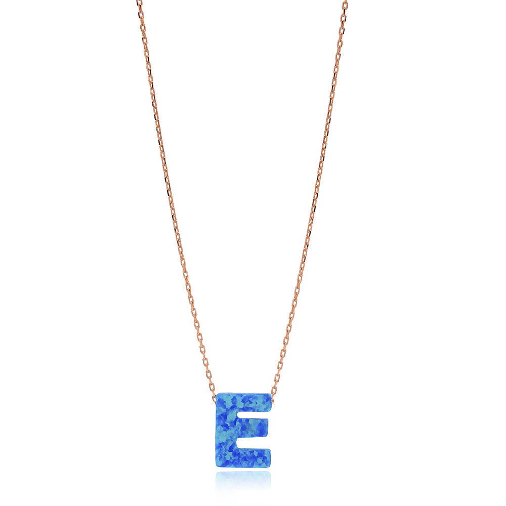 Opal Stone E Letter Design Necklace Turkish Wholesale 925 Sterling Silver Jewelry