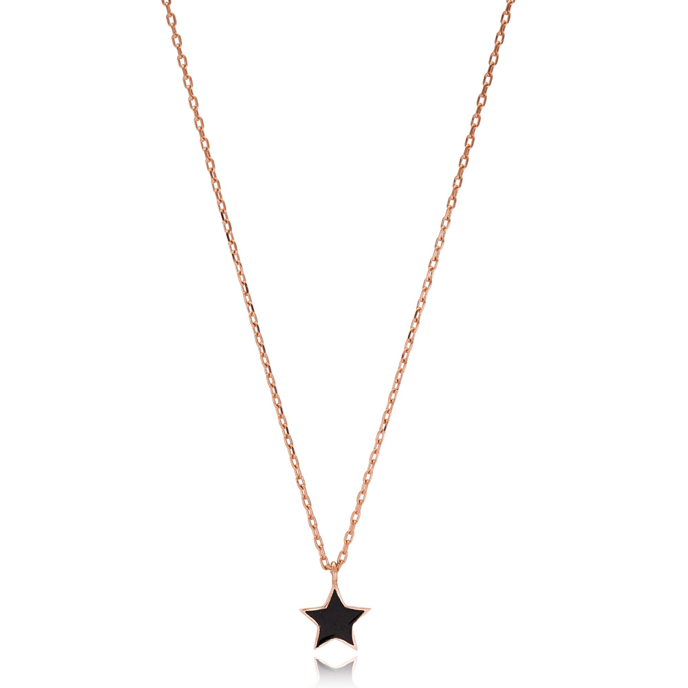 Simple Black Enamel Star Design Necklace Turkish Wholesale 925 Sterling Silver Jewelry