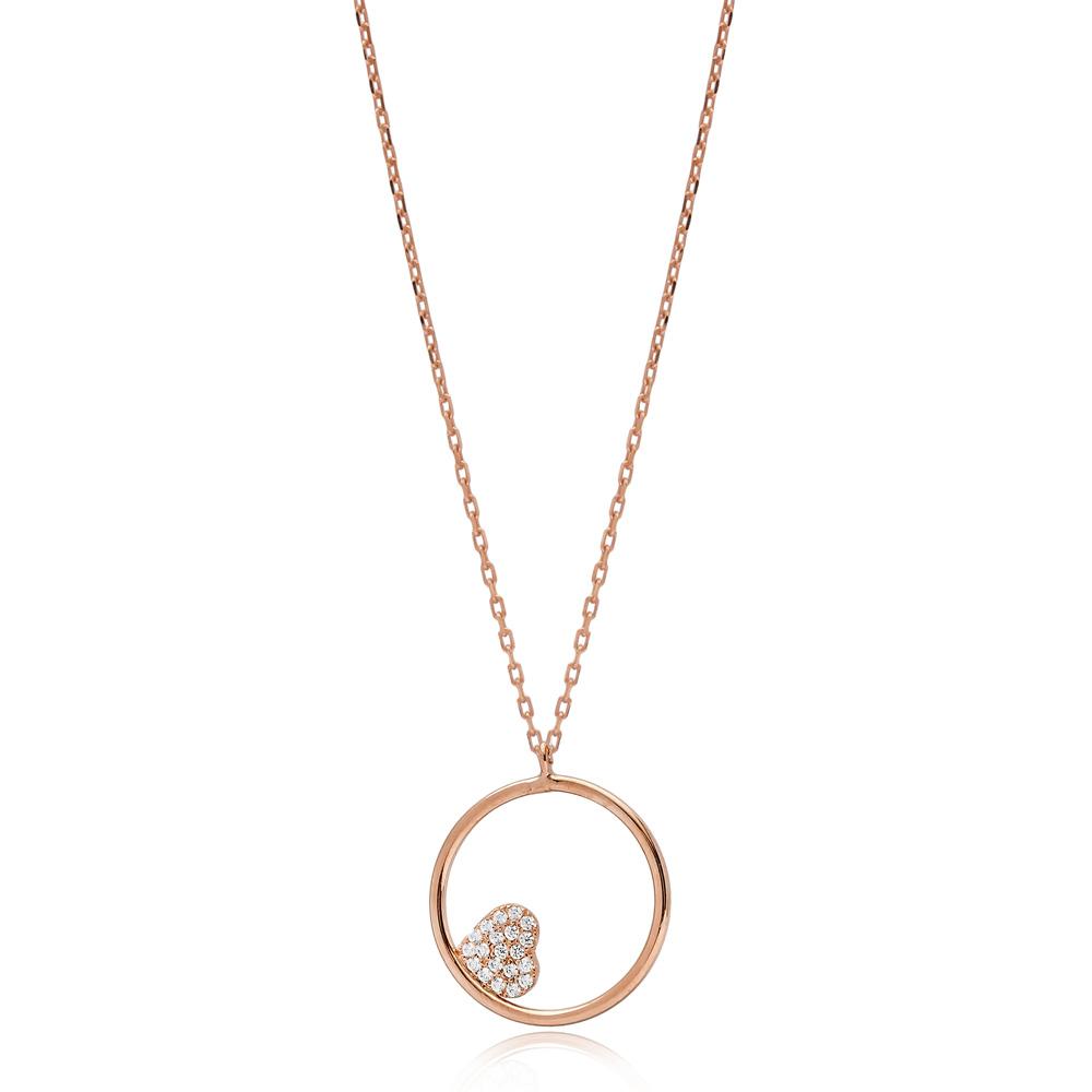 Hollow Minimalist Heart Zircon Stone Charm Wholesale Turkish 925 Sterling Silver Necklace