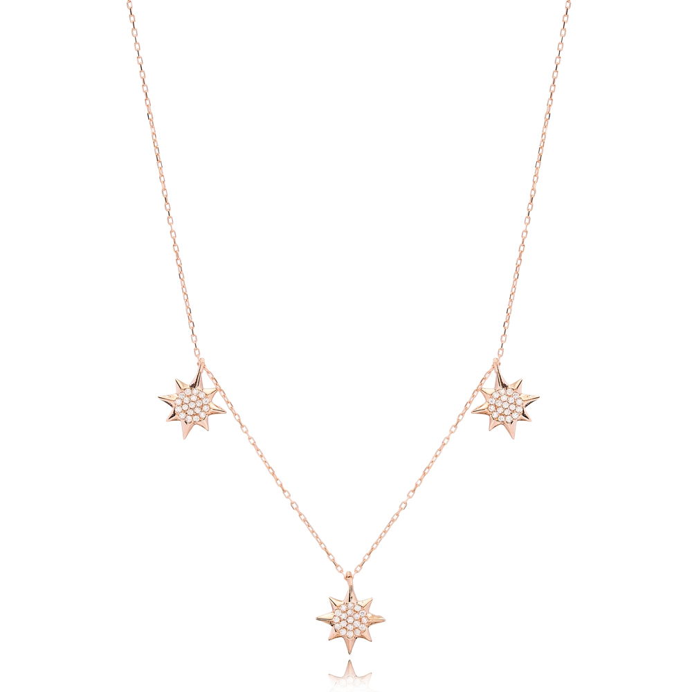 Minimalist North Star Design Charm Shaker Necklace Wholesale Turkish Handcrafted 925 Silver Jewelry