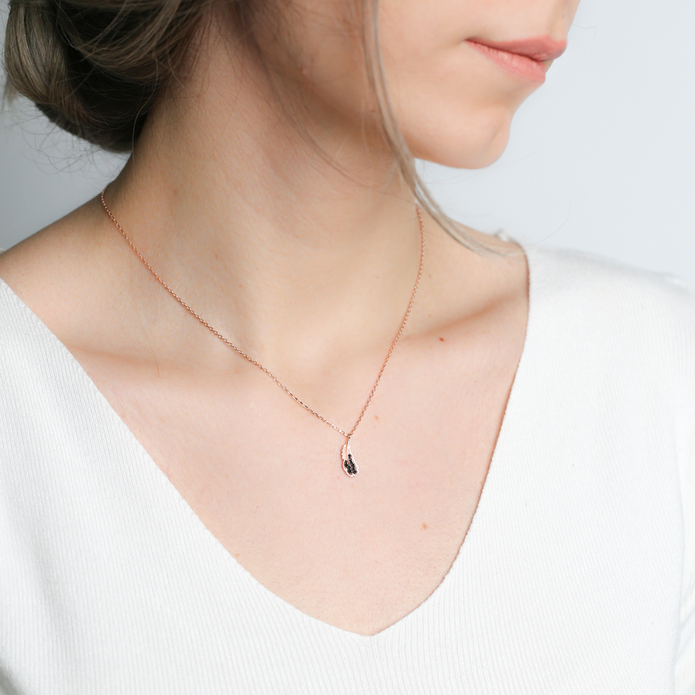 Detailed Minimal Leaf Charm Necklace Wholesale Turkish 925 Sterling Silver Jewelry