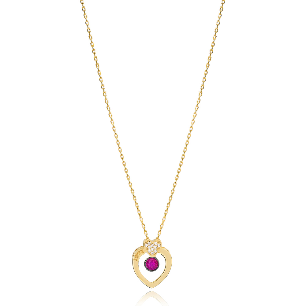 Love Letter Hearth Shape Ruby Stone Design Charm Necklace Wholesale Turkish 925 Sterling Silver Jewelry