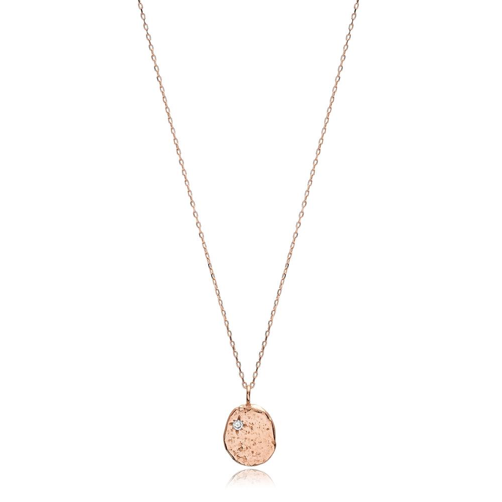 Dainty Hammered Design CZ Stone Pendant Turkish Handmade 925 Sterling Silver Jewelry