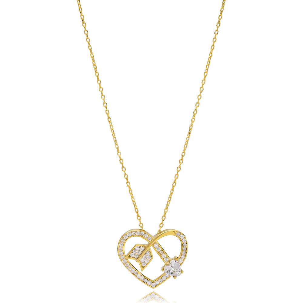 Arrowed Heart Shape Charm Zircon Stone Necklace Wholesale Turkish 925 Sterling Silver Jewelry