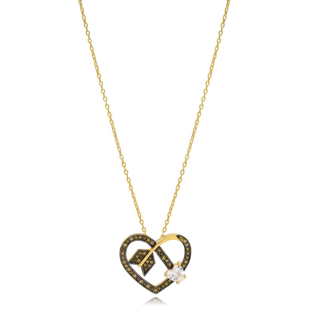 Arrowed Heart Shape Charm Smoky Quartz Necklace Wholesale Turkish 925 Sterling Silver Jewelry