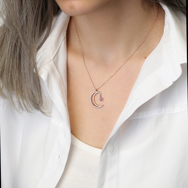 Moon and Star Wholesale Handmade Turkish 925 Silver Sterling Necklace