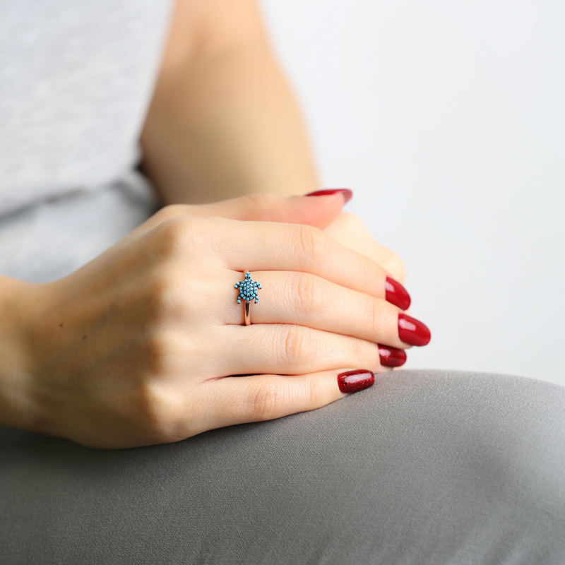 Turquoise Turtle Ring Wholesale Handmade 925 Sterling Silver