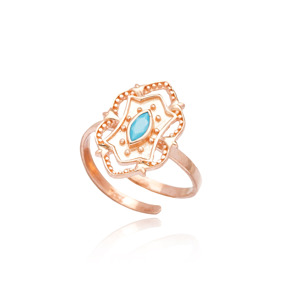 Turquoise Stone Fashionable Silver Ring Turkish Wholesale Handcrafted Silver Jewelry