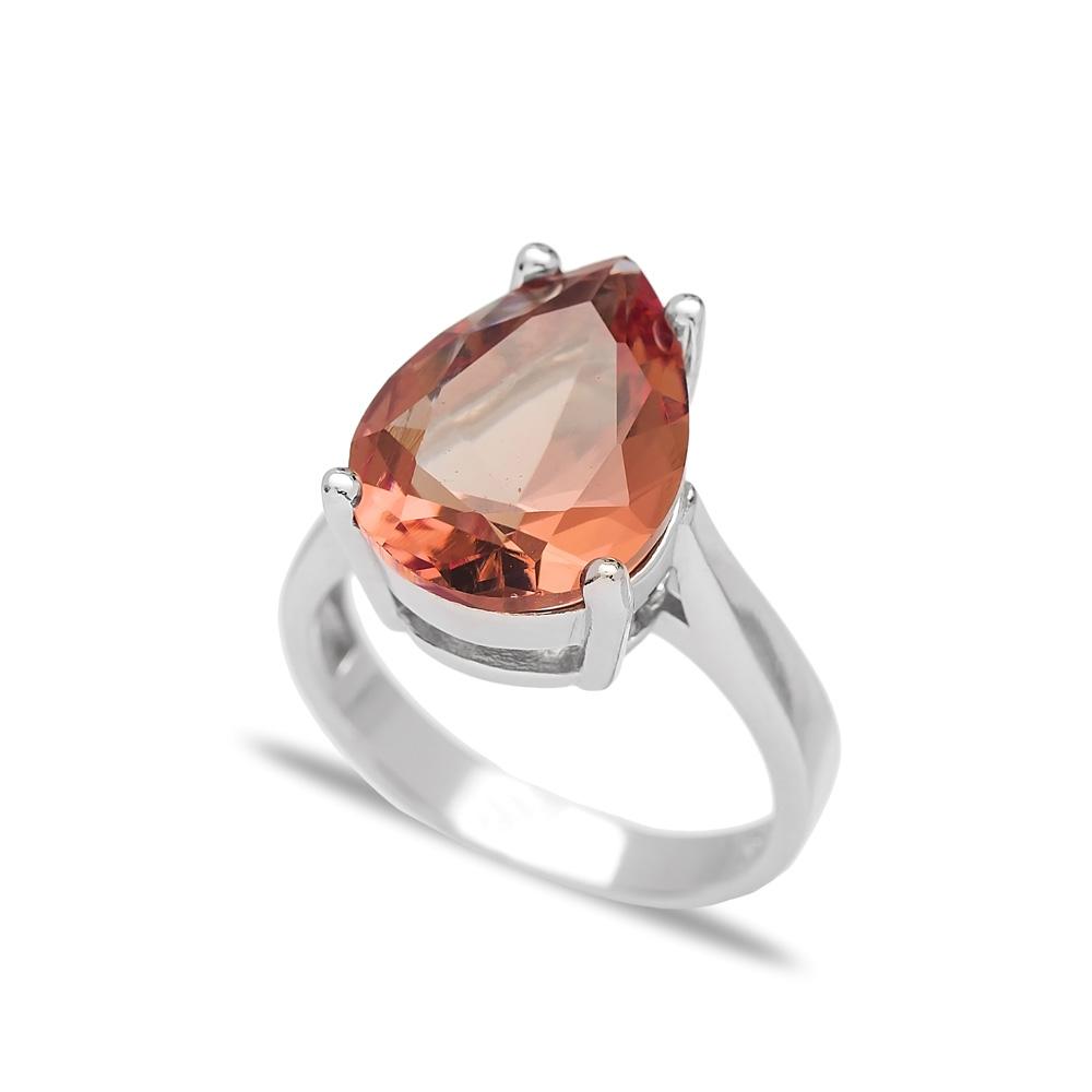 Drop Shape Basic Zultanite Stone Ring Turkish Wholesale Handmade 925 Sterling Silver Jewelry