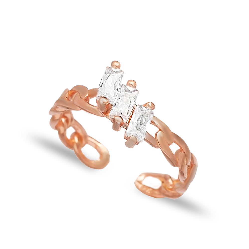 Elegant Adjustable Baguette Ring Turkish Wholesale Handcrafted 925 Silver Jewelry