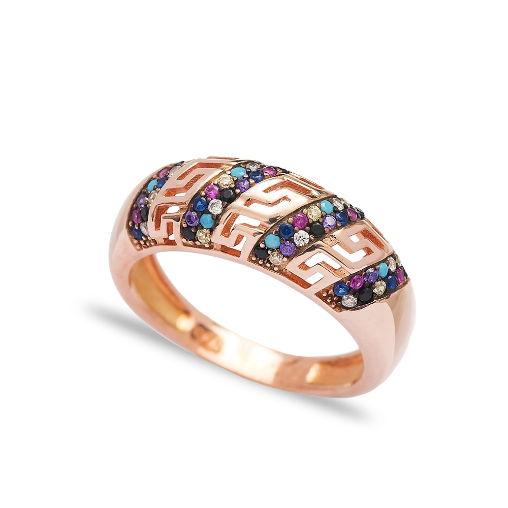 Colorful Line Design Ring Wholesale Handcrafted 925 Sterling Silver Jewelry