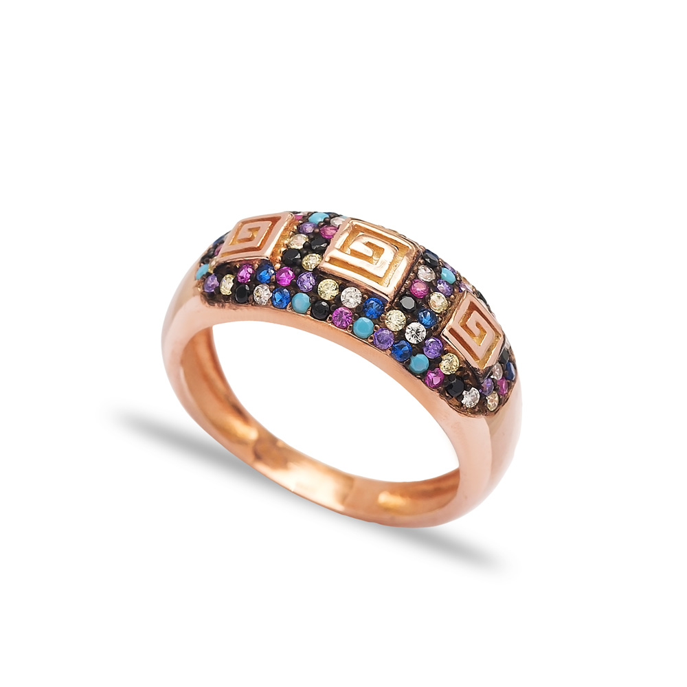 Fashion Colorful Minimalist Design Ring Wholesale Handcrafted 925 Sterling Silver Jewelry