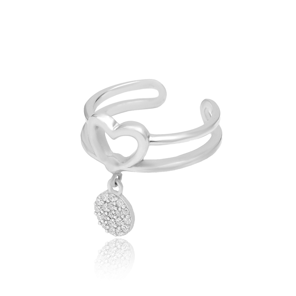 Round Charm Adjustable Heart Ring Turkish Wholesale Handcrafted 925 Silver Jewelry