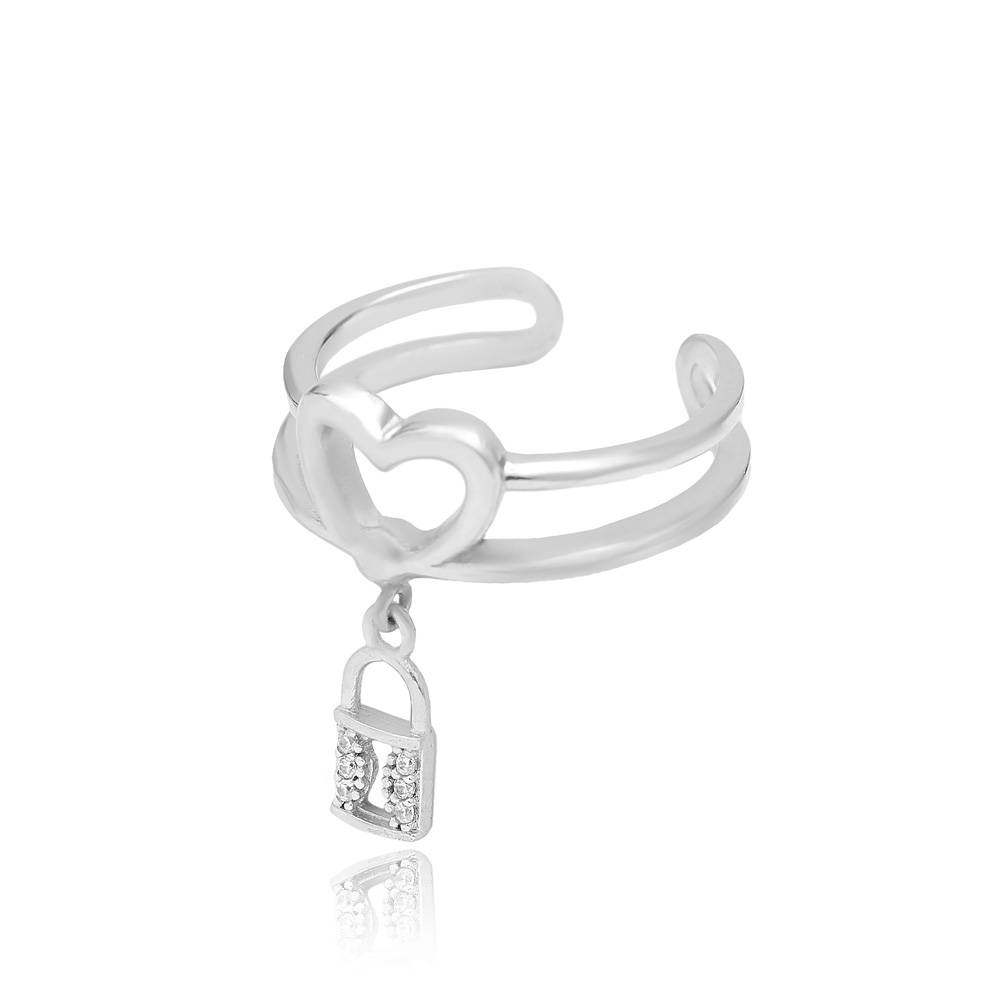 Lock Charm Adjustable Heart Ring Turkish Wholesale Handcrafted 925 Silver Jewelry