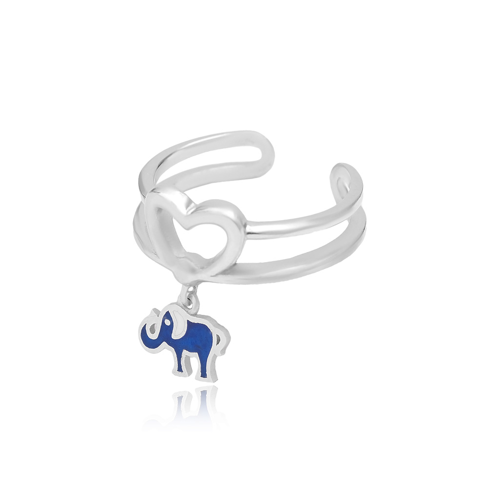 Elephant Charm Adjustable Heart Ring Turkish Wholesale Handcrafted 925 Silver Jewelry