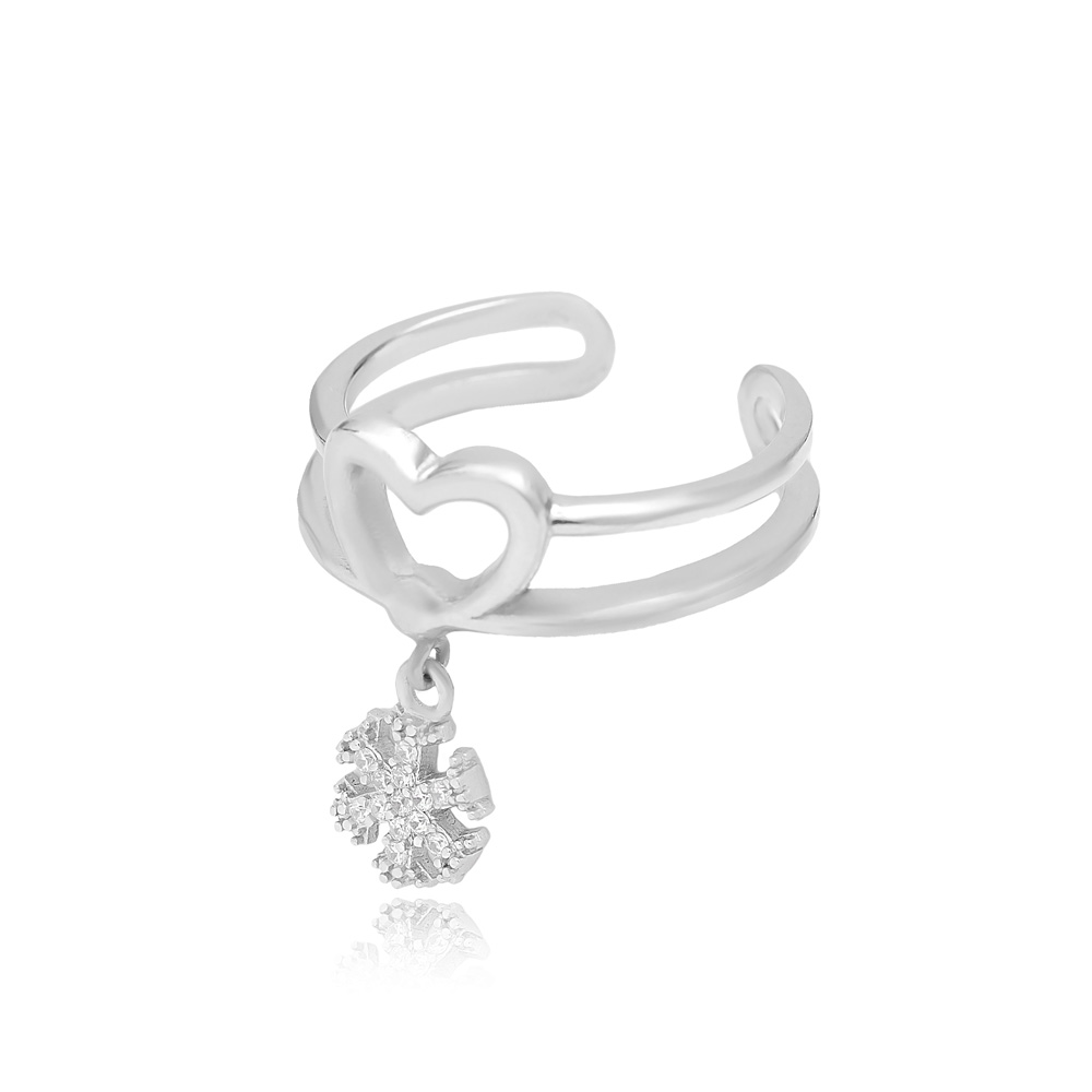 Snowflake Charm Adjustable Heart Ring Turkish Wholesale Handcrafted 925 Silver Jewelry