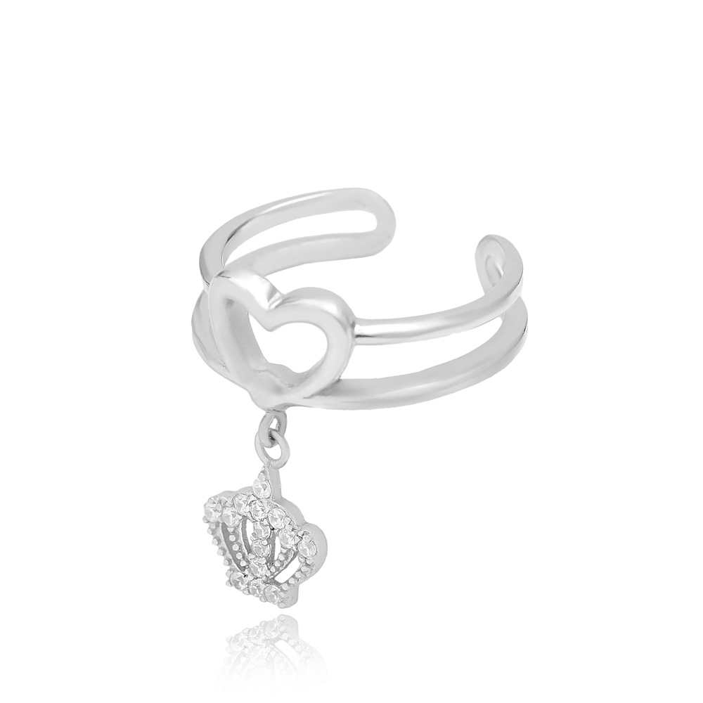 Crown Charm Adjustable Heart Ring Turkish Wholesale Handcrafted 925 Silver Jewelry