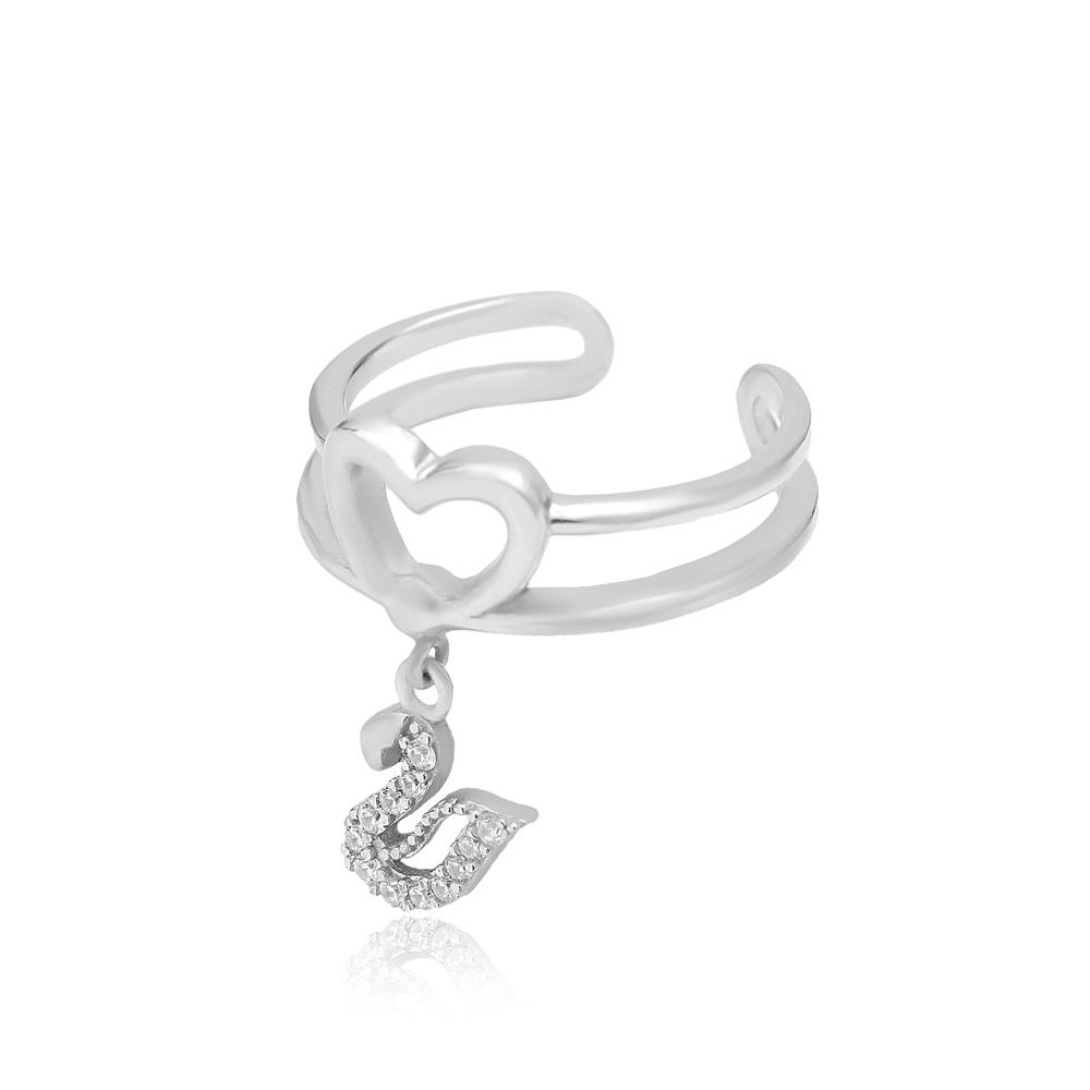 Swan Charm Adjustable Heart Ring Turkish Wholesale Handcrafted 925 Silver Jewelry