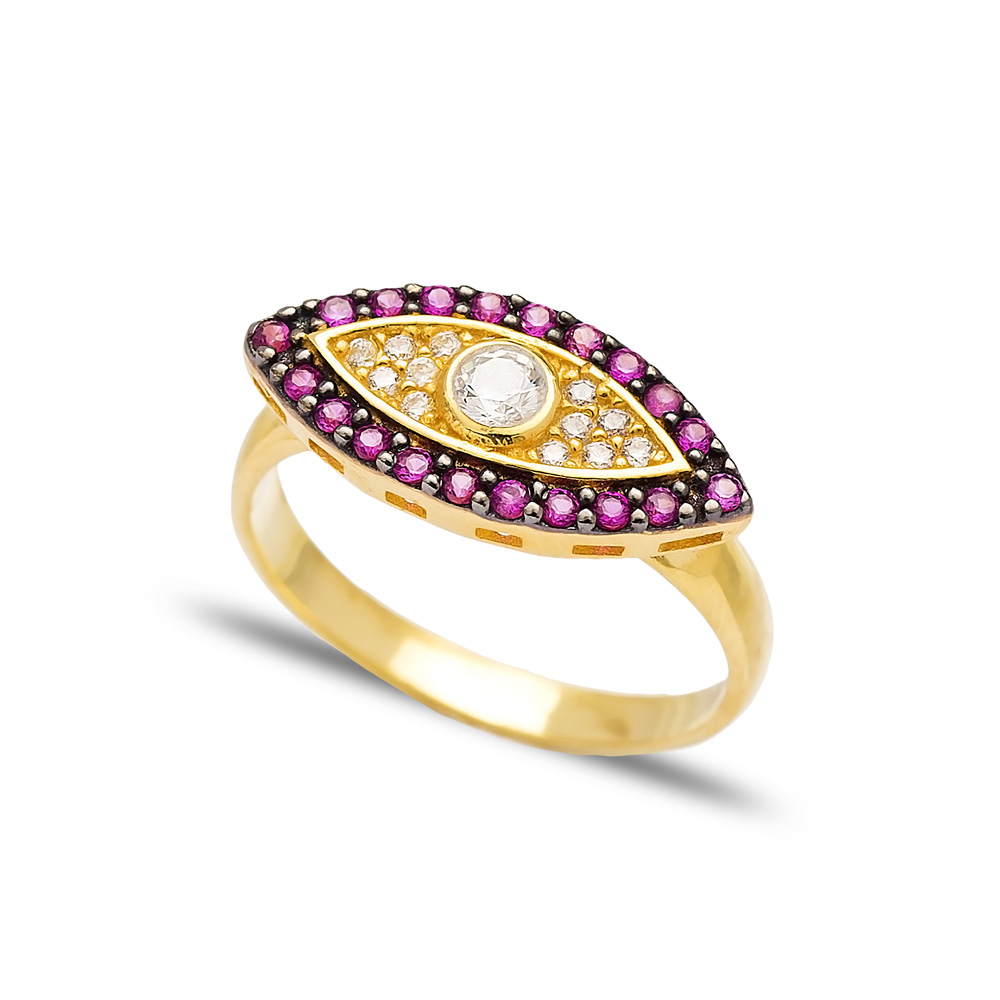 Ruby Stone Evil Eye Design Ring Wholesale Handcrafted 925 Sterling Silver Jewelry