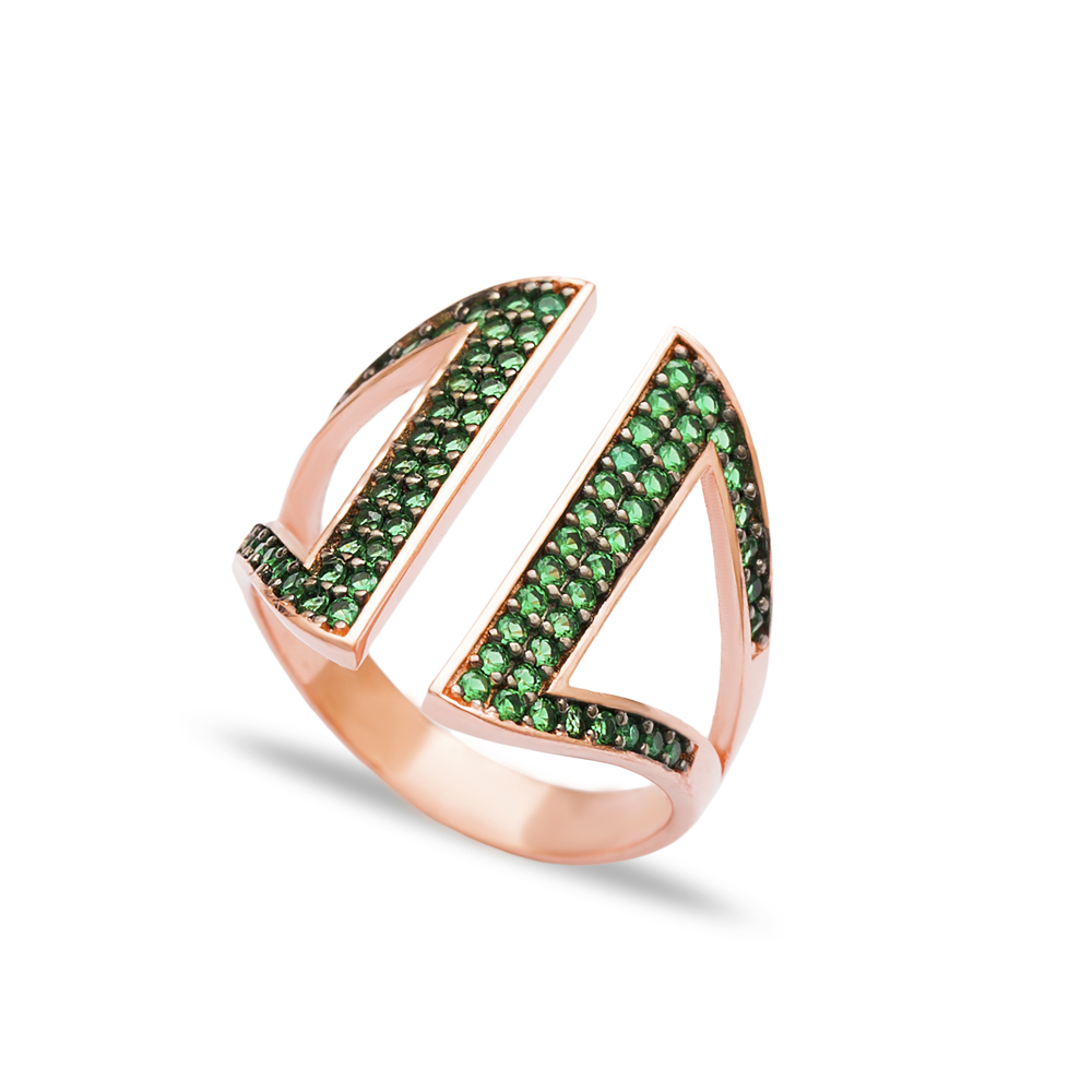 Emerald Zircon Stone Adjustable Ring Turkish Wholesale Handcrafted Sterling Silver Jewelry