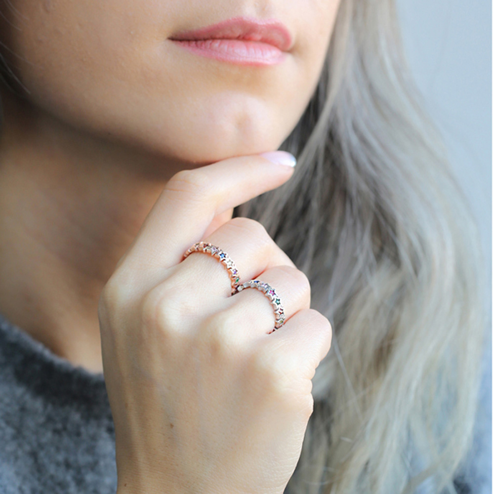 Minimalist Star Rainbow Ring Turkish Wholesale Handcrafted 925 Sterling Silver Ring