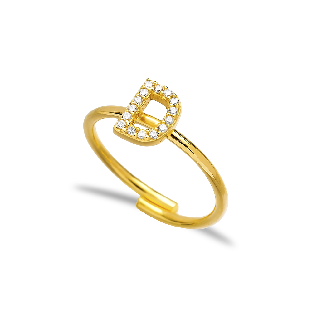 D Letter Design Adjustable Ring Wholesale  925 Silver Sterling Jewelry