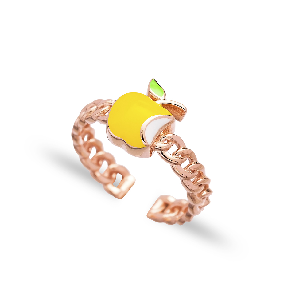 Yellow Apple Design Adjustable Ring Wholesale 925 Silver Sterling Jewelry