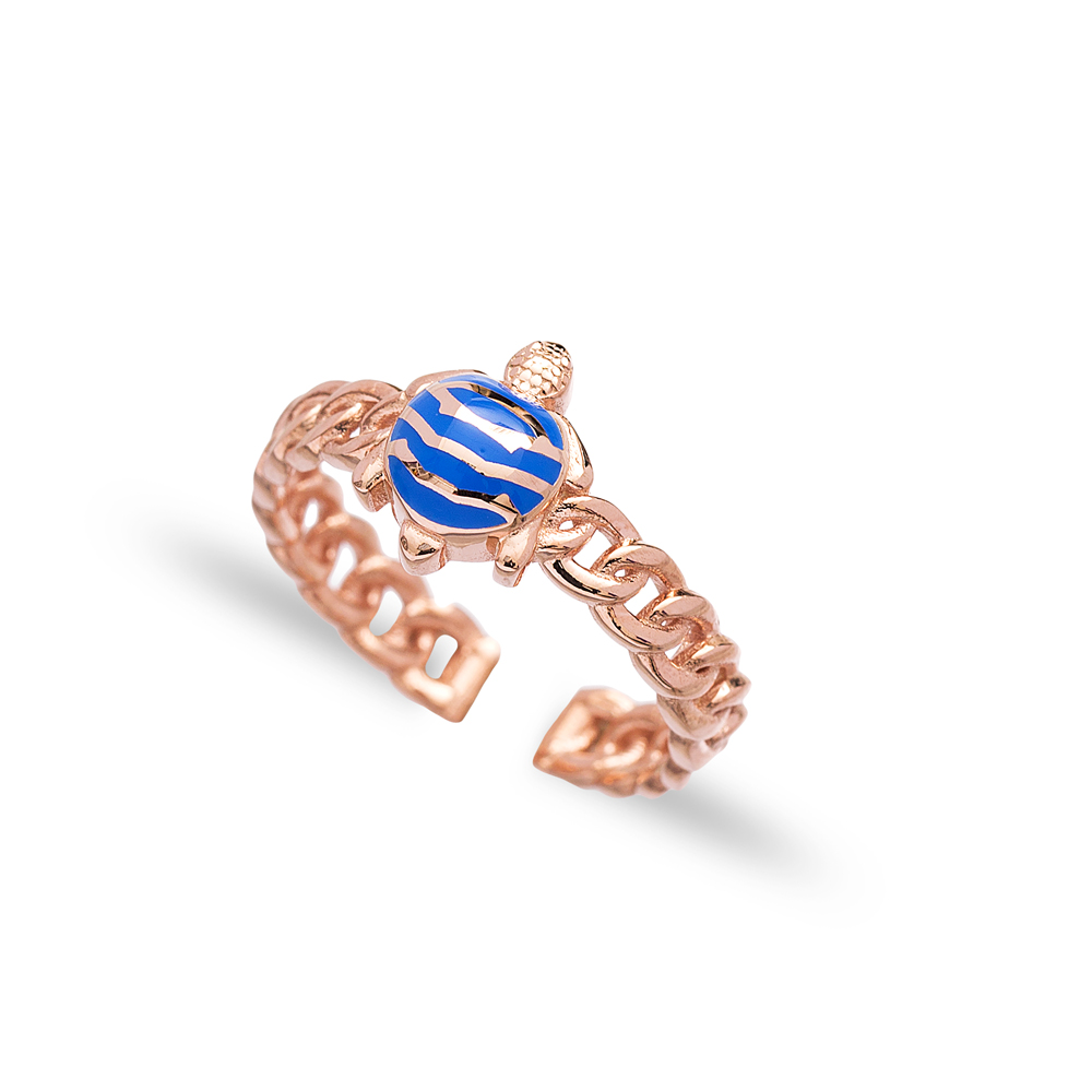 Blue Turtle Design Adjustable Ring Wholesale 925 Silver Sterling Jewelry