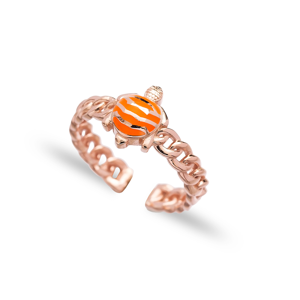 Orange Turtle Design Adjustable Ring Wholesale 925 Silver Sterling Jewelry