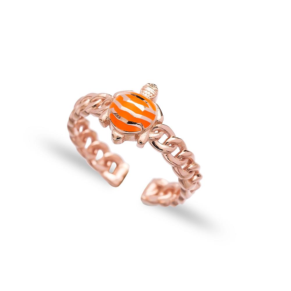 Orange Turtle Design Adjustable Ring Wholesale 925 Silver Sterling Jewelry