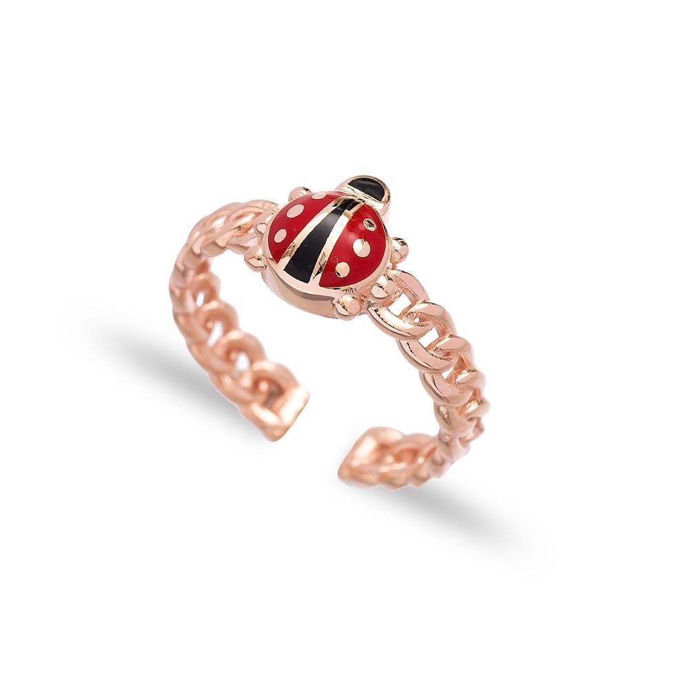 Ladybug Design Adjustable Ring Wholesale 925 Silver Sterling Jewelry
